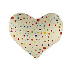 Colorful Dots Pattern Standard 16  Premium Flano Heart Shape Cushions