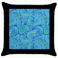 Abstract Blue Wave Pattern Throw Pillow Case (black)