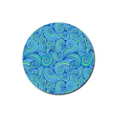 Abstract Blue Wave Pattern Rubber Coaster (round)