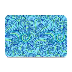 Abstract Blue Wave Pattern Plate Mats