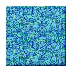 Abstract Blue Wave Pattern Face Towel