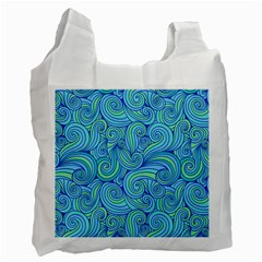 Abstract Blue Wave Pattern Recycle Bag (one Side)