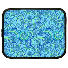 Abstract Blue Wave Pattern Netbook Case (xxl)