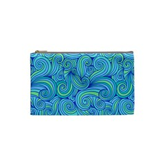 Abstract Blue Wave Pattern Cosmetic Bag (small)