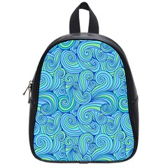 Abstract Blue Wave Pattern School Bags (small)