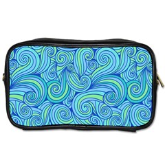 Abstract Blue Wave Pattern Toiletries Bags 2 Side