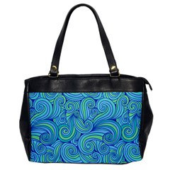 Abstract Blue Wave Pattern Office Handbags