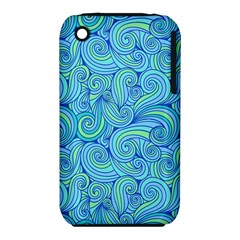Abstract Blue Wave Pattern Apple Iphone 3g/3gs Hardshell Case (pc+silicone) by TastefulDesigns