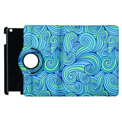 Abstract Blue Wave Pattern Apple Ipad 2 Flip 360 Case