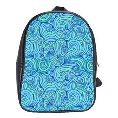 Abstract Blue Wave Pattern School Bags (xl)
