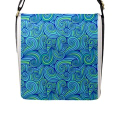 Abstract Blue Wave Pattern Flap Messenger Bag (l)