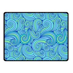 Abstract Blue Wave Pattern Double Sided Fleece Blanket (small)
