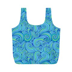 Abstract Blue Wave Pattern Full Print Recycle Bags (m)