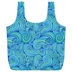 Abstract Blue Wave Pattern Full Print Recycle Bags (l)