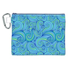 Abstract Blue Wave Pattern Canvas Cosmetic Bag (xxl)  by TastefulDesigns