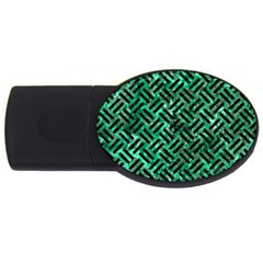 Woven2 Black Marble & Green Marble (r) Usb Flash Drive Oval (2 Gb) by trendistuff