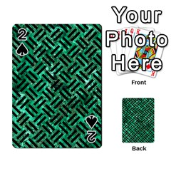Woven2 Black Marble & Green Marble (r) Playing Cards 54 Designs