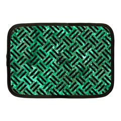 Woven2 Black Marble & Green Marble (r) Netbook Case (medium) by trendistuff