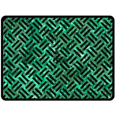 Woven2 Black Marble & Green Marble (r) Double Sided Fleece Blanket (large) by trendistuff