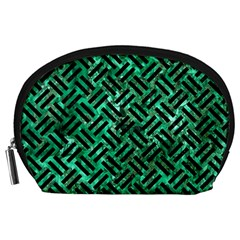 Woven2 Black Marble & Green Marble (r) Accessory Pouch (large) by trendistuff