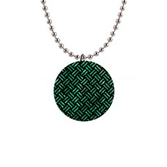Woven2 Black Marble & Green Marble 1  Button Necklace by trendistuff