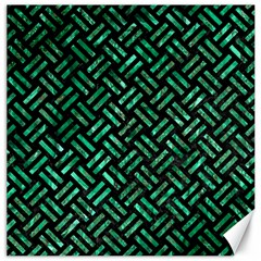 Woven2 Black Marble & Green Marble Canvas 12  X 12  by trendistuff