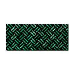 Woven2 Black Marble & Green Marble Hand Towel by trendistuff