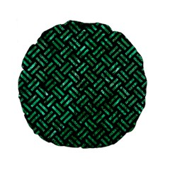 Woven2 Black Marble & Green Marble Standard 15  Premium Flano Round Cushion  by trendistuff