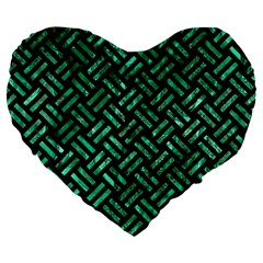 Woven2 Black Marble & Green Marble Large 19  Premium Flano Heart Shape Cushion by trendistuff