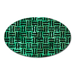 Woven1 Black Marble & Green Marble (r) Magnet (oval) by trendistuff