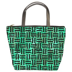 Woven1 Black Marble & Green Marble (r) Bucket Bag