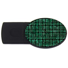 Woven1 Black Marble & Green Marble Usb Flash Drive Oval (4 Gb) by trendistuff