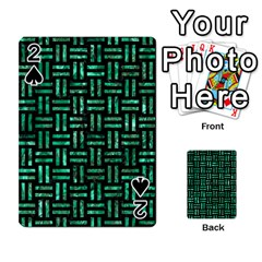 Woven1 Black Marble & Green Marble Playing Cards 54 Designs