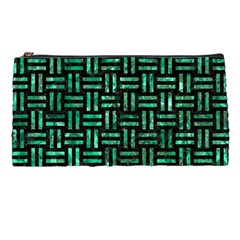 Woven1 Black Marble & Green Marble Pencil Case