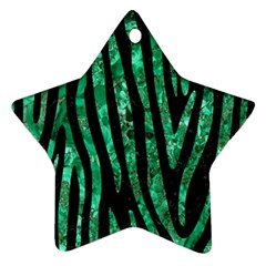 Skin4 Black Marble & Green Marble (r) Ornament (star) by trendistuff
