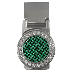 Houndstooth2 Black Marble & Green Marble Money Clip (cz) by trendistuff