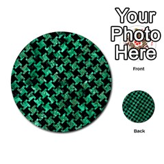 Houndstooth2 Black Marble & Green Marble Multi Purpose Cards (round) by trendistuff
