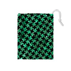 Houndstooth2 Black Marble & Green Marble Drawstring Pouch (medium)
