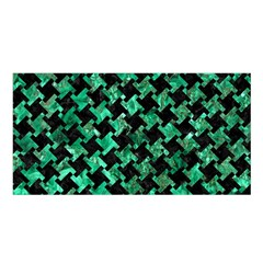 Houndstooth2 Black Marble & Green Marble Satin Shawl by trendistuff