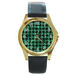 Houndstooth1 Black Marble & Green Marble Round Gold Metal Watch by trendistuff