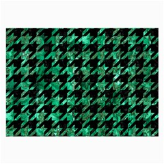 Houndstooth1 Black Marble & Green Marble Large Glasses Cloth by trendistuff