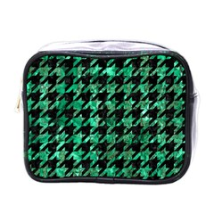 Houndstooth1 Black Marble & Green Marble Mini Toiletries Bag (one Side) by trendistuff