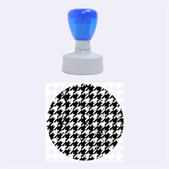 Houndstooth1 Black Marble & Green Marble Rubber Stamp Round (medium)