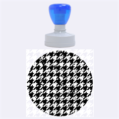 Houndstooth1 Black Marble & Green Marble Rubber Stamp Round (large)