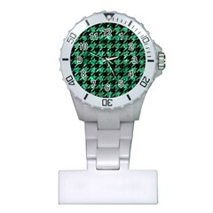 Houndstooth1 Black Marble & Green Marble Plastic Nurses Watch by trendistuff