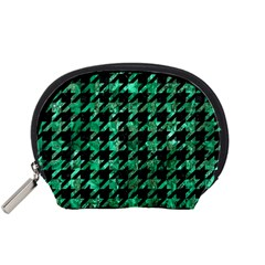 Houndstooth1 Black Marble & Green Marble Accessory Pouch (small) by trendistuff