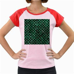 Circles3 Black Marble & Green Marble Women s Cap Sleeve T Shirt