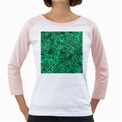 Brick2 Black Marble & Green Marble (r) Girly Raglan by trendistuff