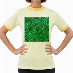 Brick2 Black Marble & Green Marble (r) Women s Fitted Ringer T Shirt by trendistuff