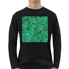 Brick2 Black Marble & Green Marble (r) Long Sleeve Dark T Shirt by trendistuff